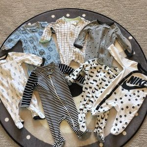 0-3 Month baby boy sleepers lot